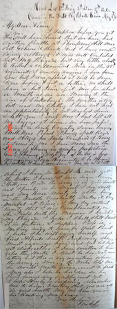 Original Letter from General John E. Smith to his wife, Aimee